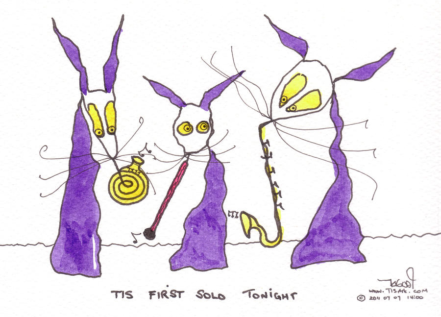 Purple Painting - Tis First Solo Tonight by Tis Art