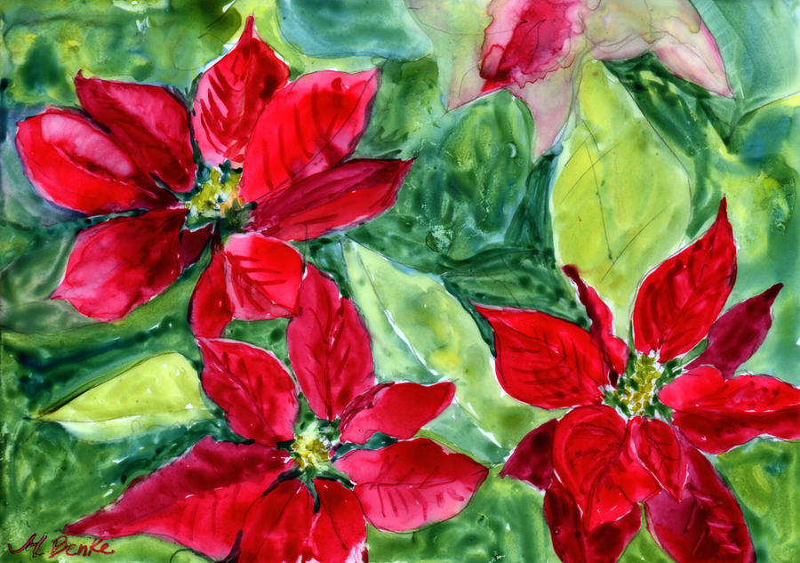 Poinsettia Painting - tis The Season by Mary Benke