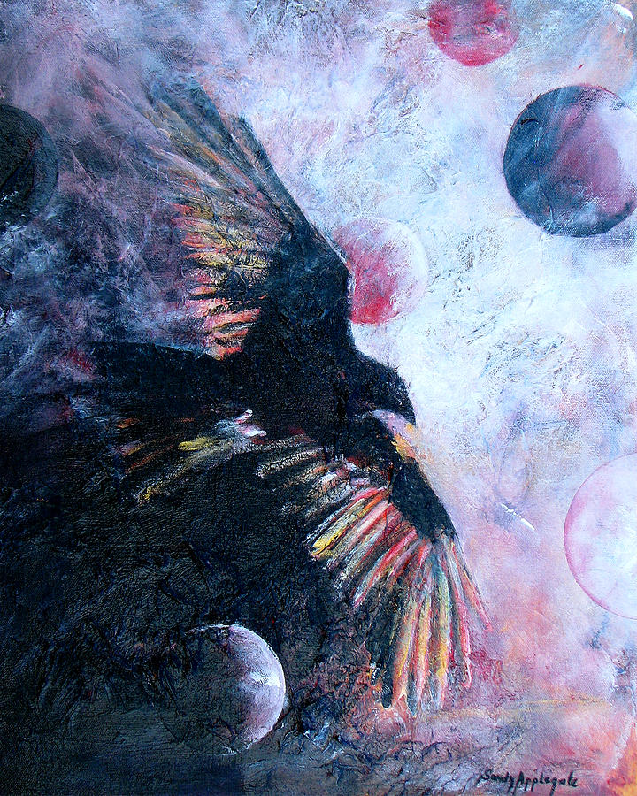 Raven Painting - tis The Wind by Sandy Applegate