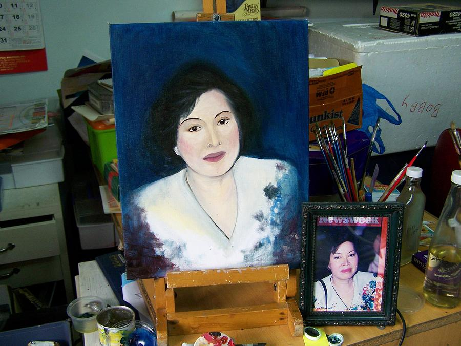 Portrait Painting - Tita Yvonne Unfinished by Dindin Coscolluela