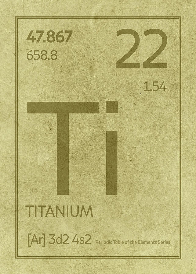 Titanium Element Symbol Periodic Table Series 022 Mixed Media By