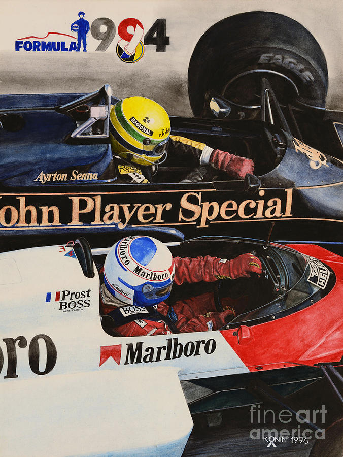 Ayrton Senna Painting - Titans Battle by Oleg Konin