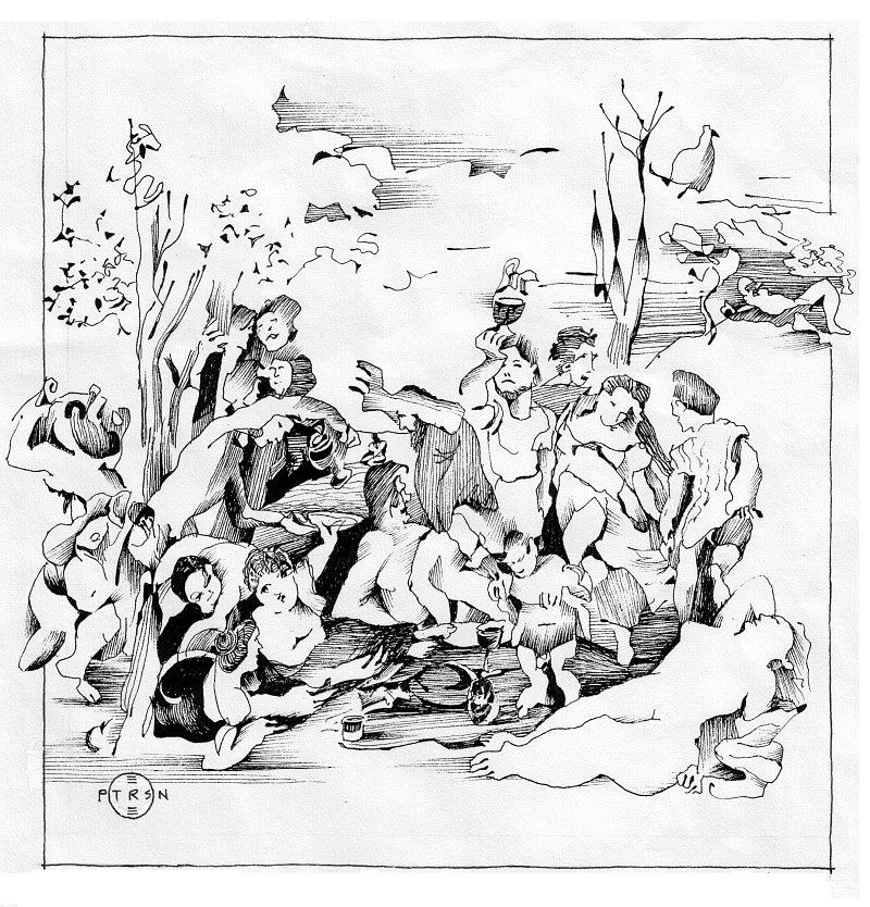 Wine Drawing - Titian Bacchanalia by Gary Peterson