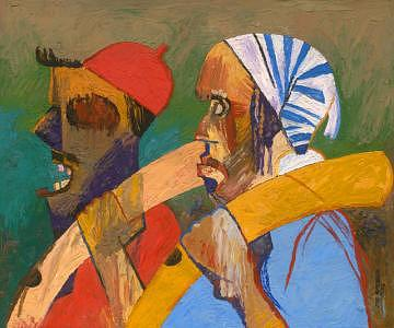 Ancestor Painting - Titled Men With Tusks by Joe Amenechi