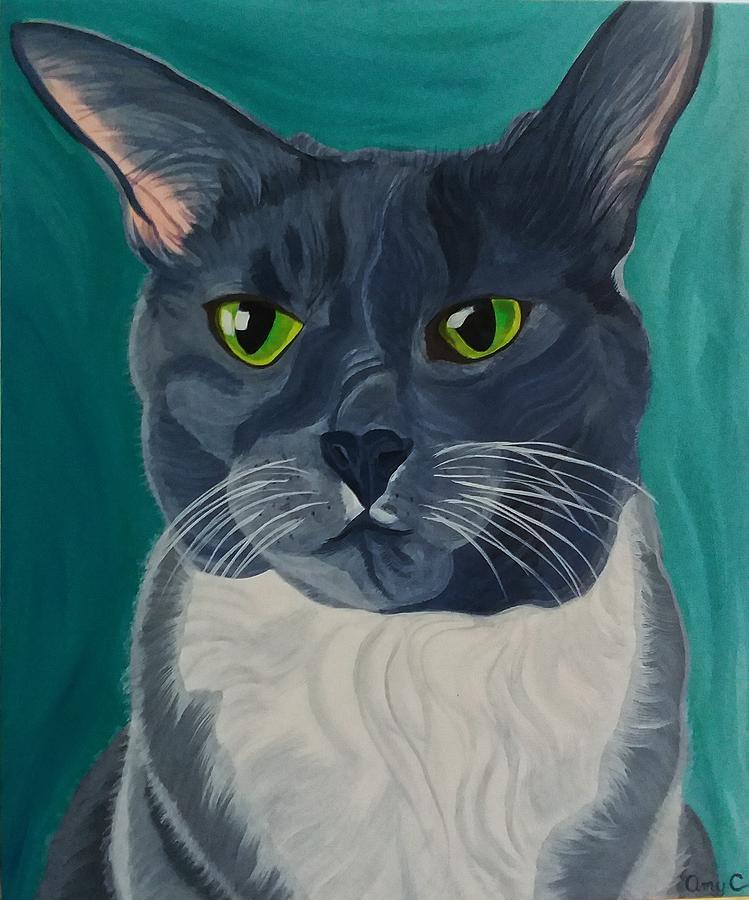 Titter Painting - Titter, Cat Portrait by Amy Collier