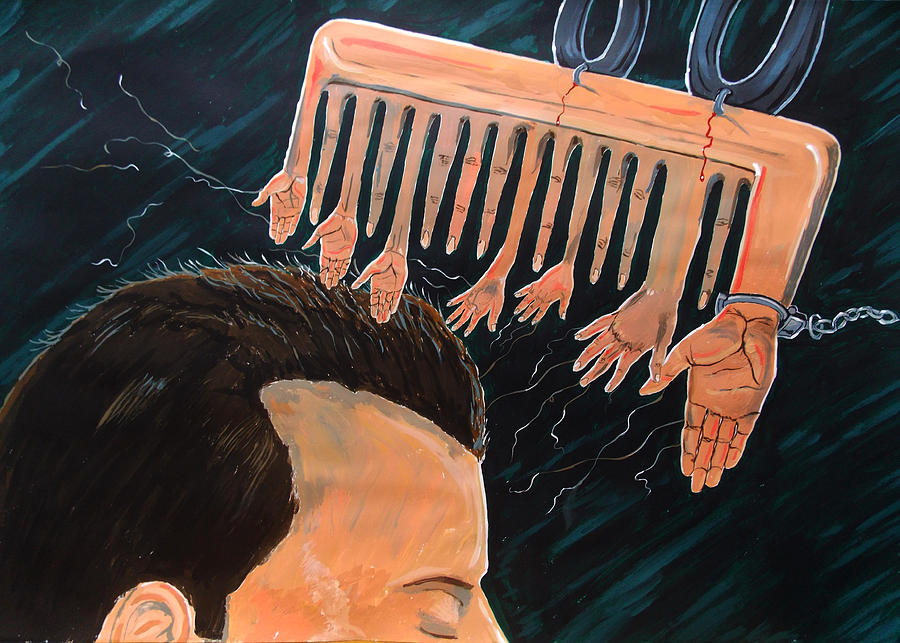 Surreal Painting - To Comb The Social Reactions by Lazaro Hurtado