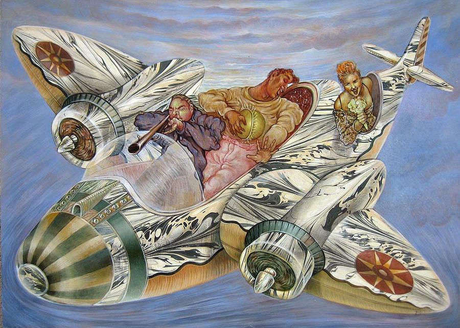 Airplane Painting - To Fly And To Sing by Momo Calascibetta