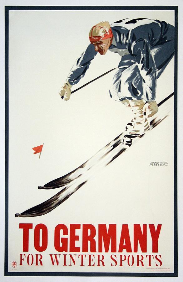 Oberammergau Germany Winter Ski Sports European Travel Advertisement Art Poster