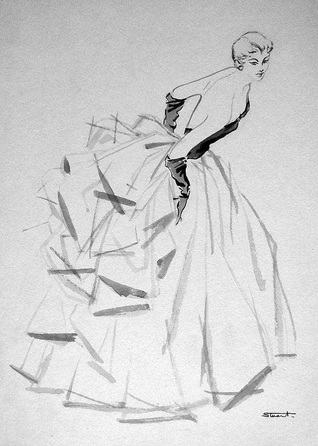 Vintage Drawing - To The Ball by Stuart