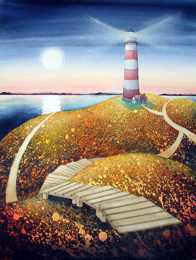 Watercolour Painting - To The Lighthouse by Arlene Kline