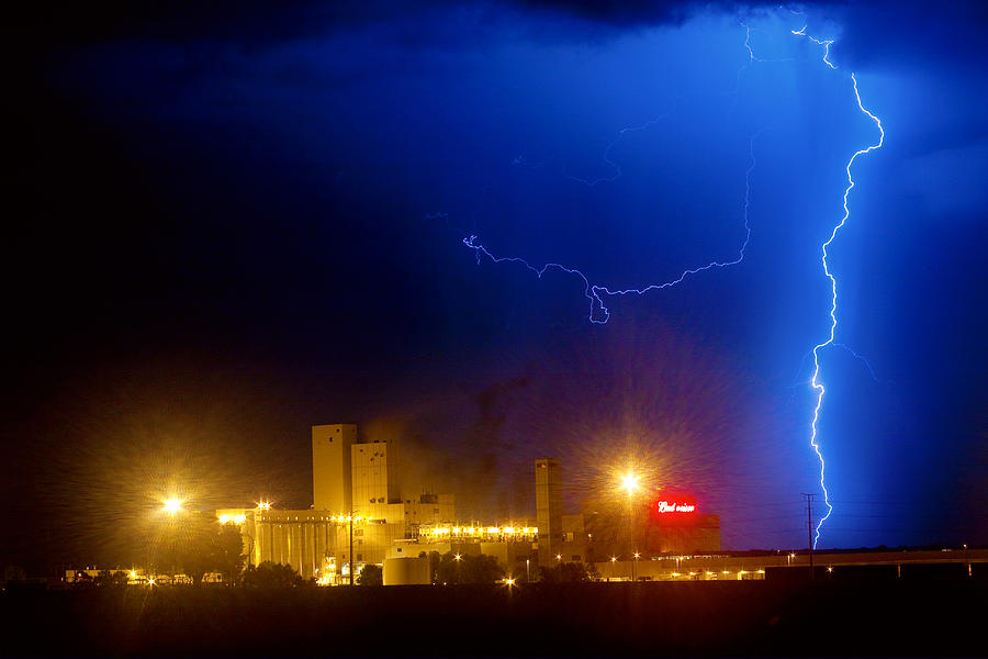 Budweiser Photograph - To The Right Budweiser Lightning Strike by James BO  Insogna