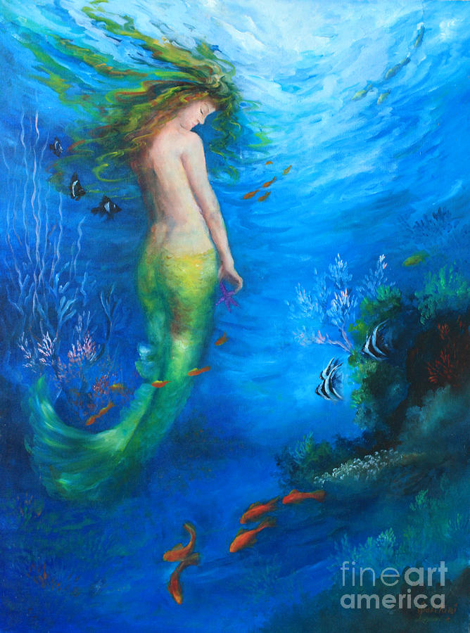 Mermaid Painting - To  The Surface by Gail Salitui