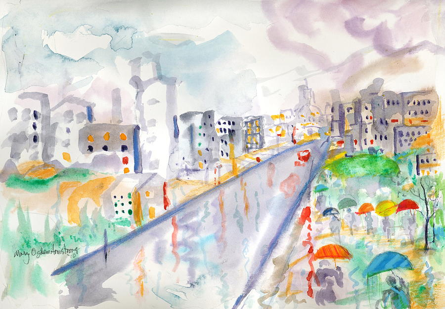 City Painting - To The Wet City by Mary Armstrong