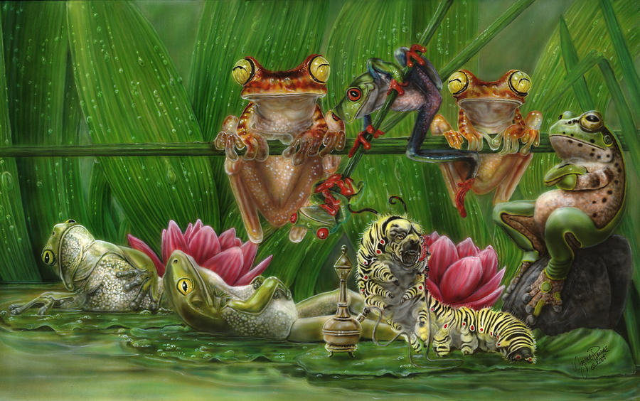 Frogs Painting - Toasted Frogs by Wayne Pruse