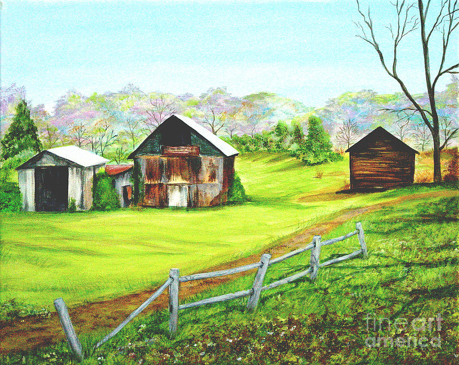 Landscape Painting - Tobacco Barns North Carolina by Pauline Ross