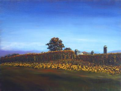 Tobacco Corn And Silos-lancaster County Pa Painting by Jeanie Chadwick
