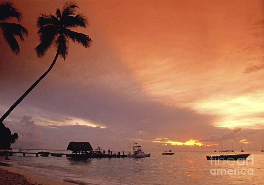 Beach Photograph - Tobago, Pigeon Point Sunset, Caribbean Sea, by Juergen Held