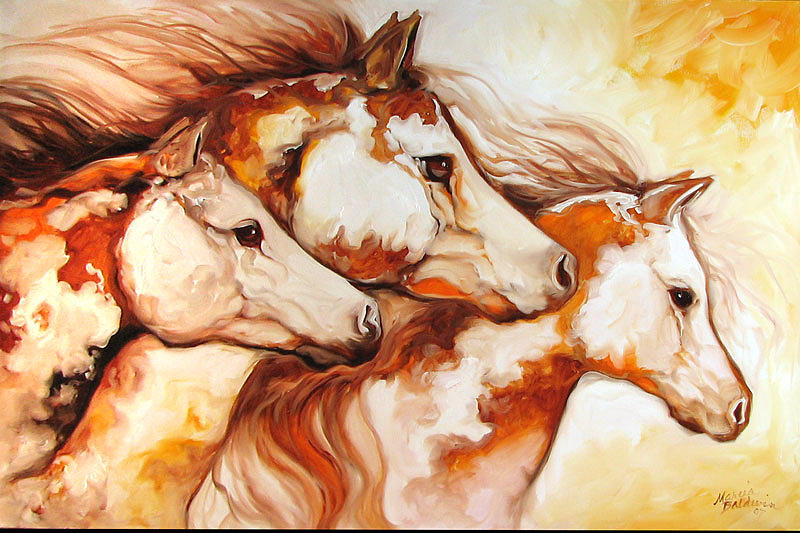 Equine Painting - Tobiano Horse Trio by Marcia Baldwin
