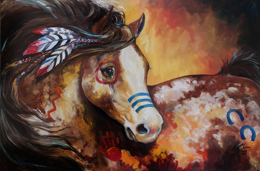 Tobiano Indian War Horse Painting By Marcia Baldwin