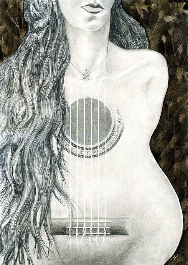 Guitar Painting - Tocar Mi Amor by Miko At The Love Art Shop