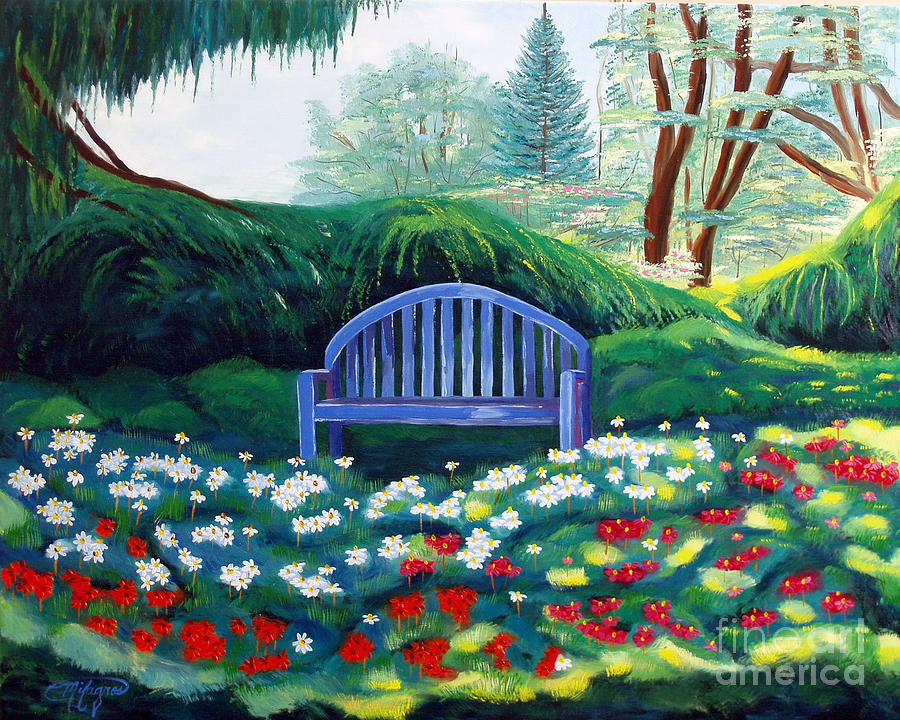 Park Painting - Today I Feel Like Hiding by Milagros Palmieri