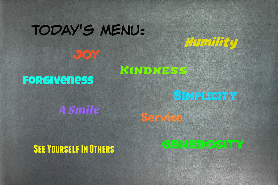 Words Photograph - Todays Menu #2 by Joseph S Giacalone