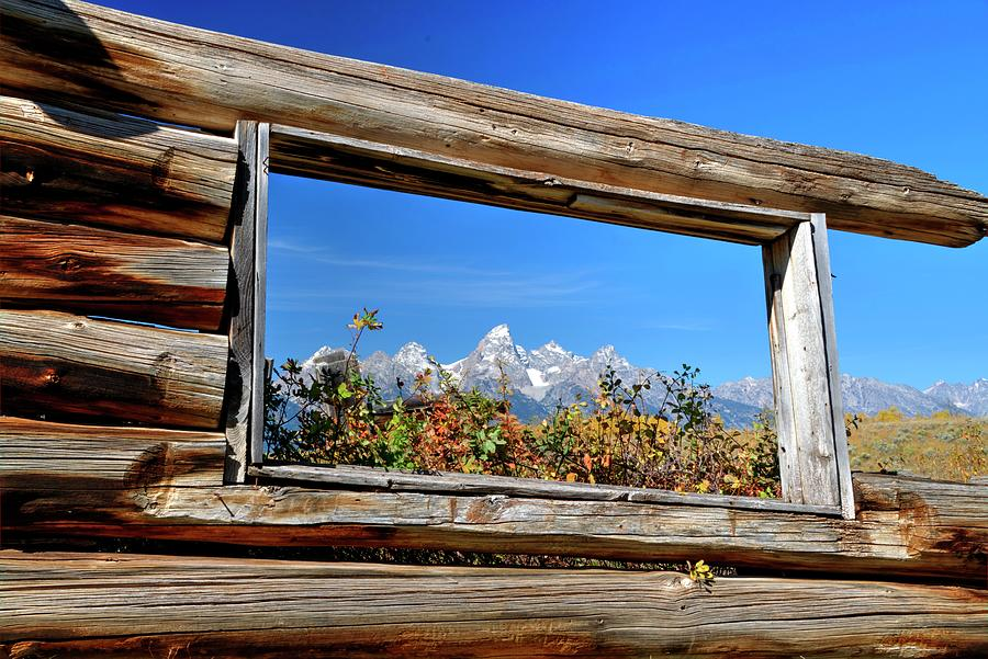 Landscape Photograph - Todays Tetons Through Yesterdays Window by Michael Morse