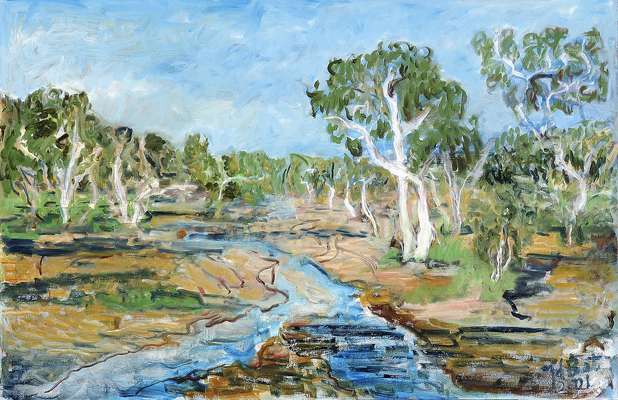 Todd River Painting by Joan De Bot