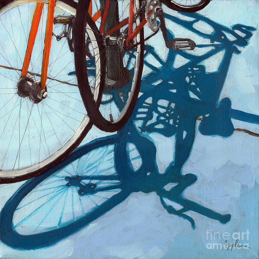 Blue Painting - Together - City Bikes by Linda Apple