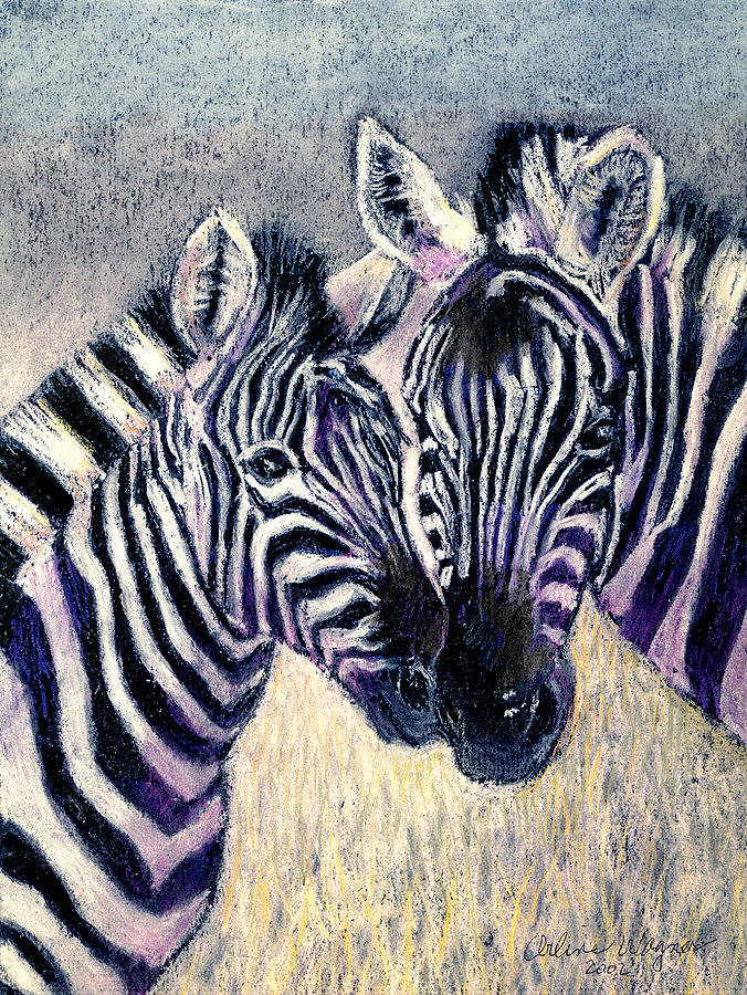 Zebras Pastel - Together by Arline Wagner