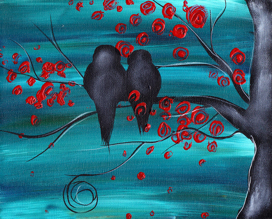 Love Birds Painting - Together As One by  Abril Andrade Griffith