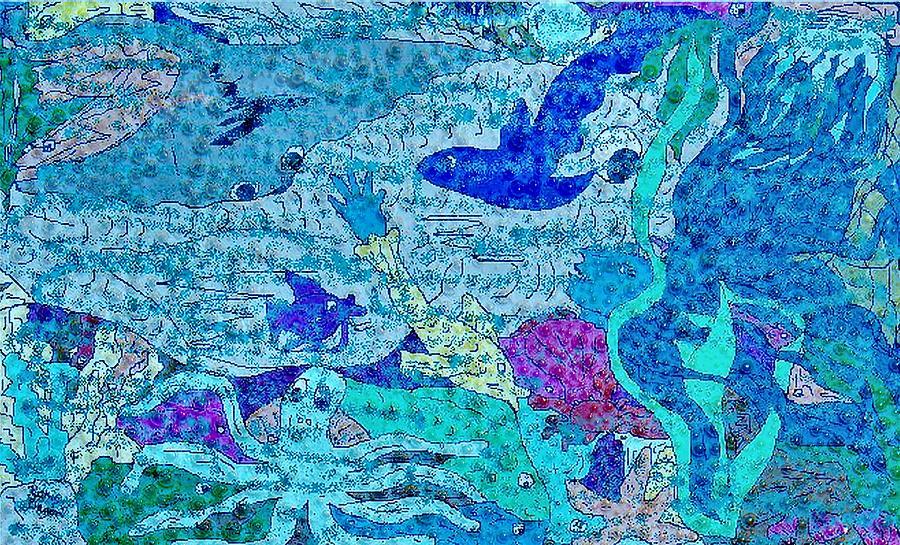 Mermaid Digital Art - Together by Kathy Daxon