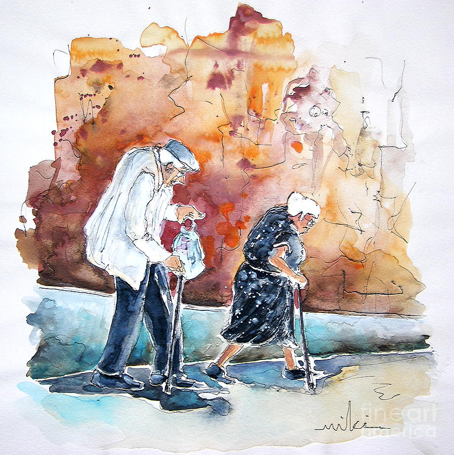 Together Old In Portugal 01 Painting by Miki De Goodaboom