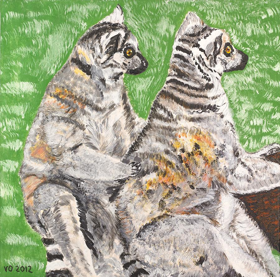 Katta Painting - Together by Valerie Ornstein