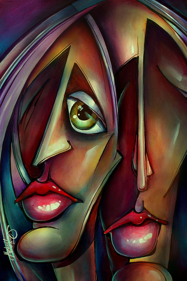 Portrait Painting - together Watching by Michael Lang