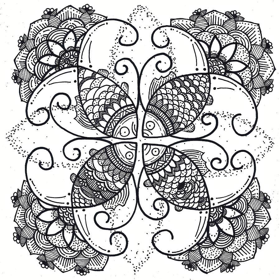 Caroline Drawing - Together We Flourish - Ink by Caroline Sainis