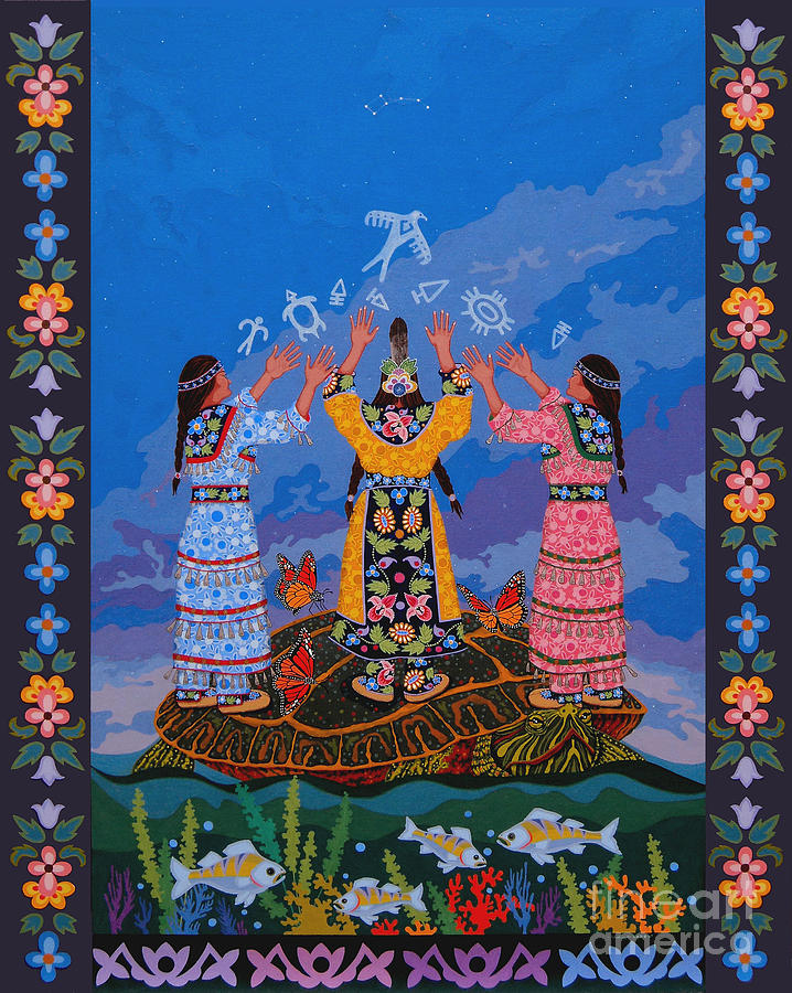 Indigenous Painting - Together We Over Come Obstacles by Chholing Taha