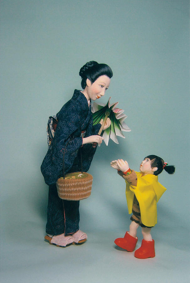 Japanese Sculpture - Together With Mother  by Mariko Okabe