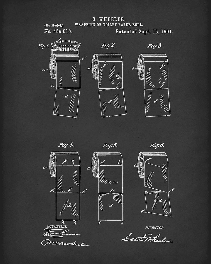 Toilet Paper Patent Art Black by Prior Art Design