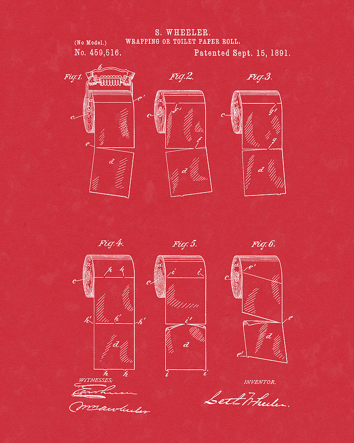 Toilet Paper Patent Art Red by Prior Art Design