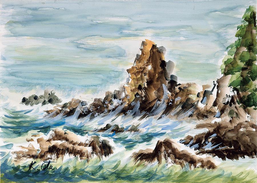Japanese Painting - Tojinbo by Kiyoko Ota