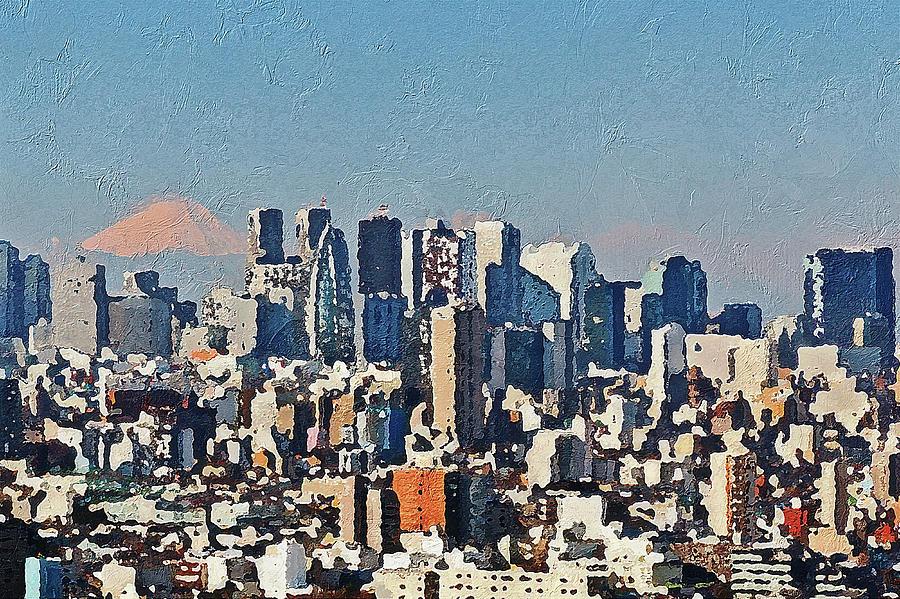 Aerial Painting - Tokyo City Aerial by PixBreak Art