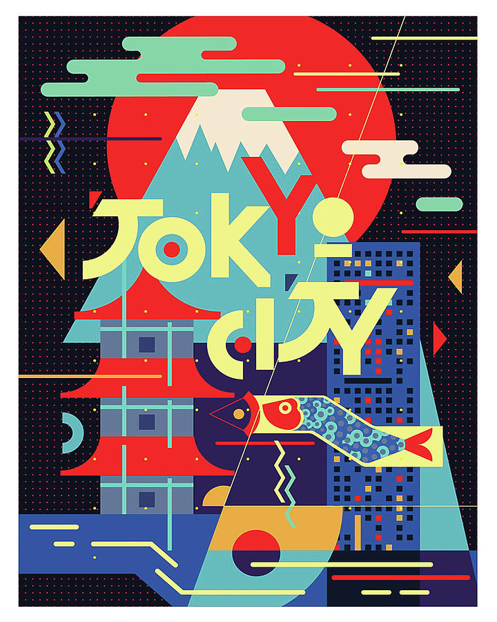Tokyo City, Japan, Vintage Travel Poster Painting by Long Shot