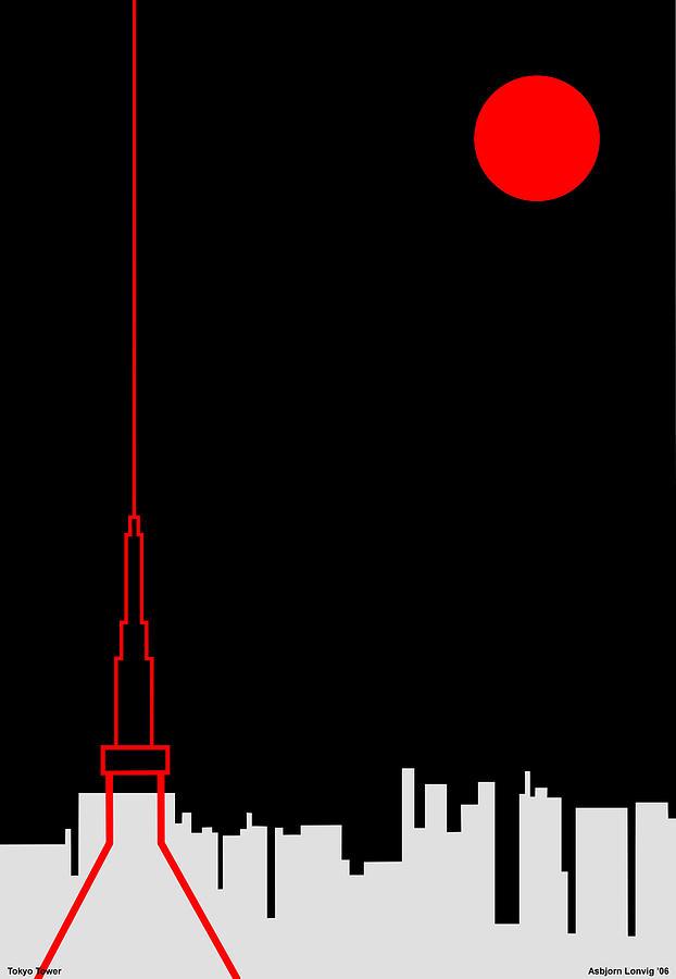 Tokyo Tower Digital Art by Asbjorn Lonvig