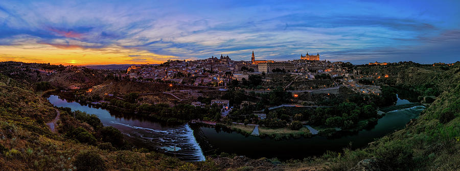 Toledo Spain Sunset Panorama 02 by Josh Bryant