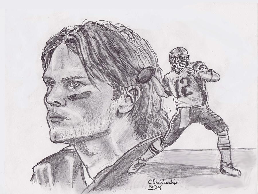 Tom Brady Drawing By Chris Delvecchio