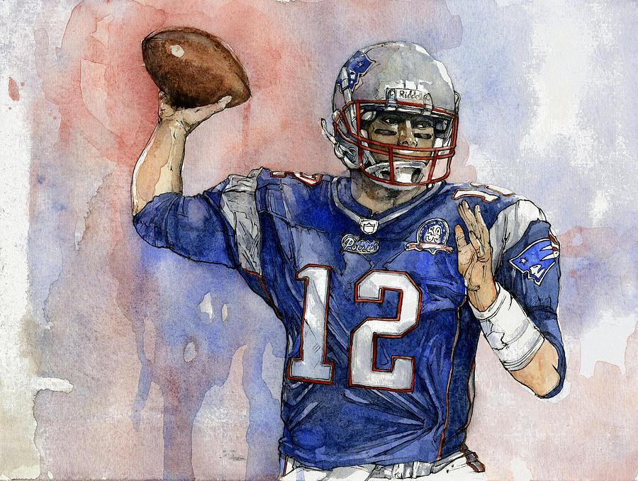 Patriots Painting - Tom Brady by Michael  Pattison