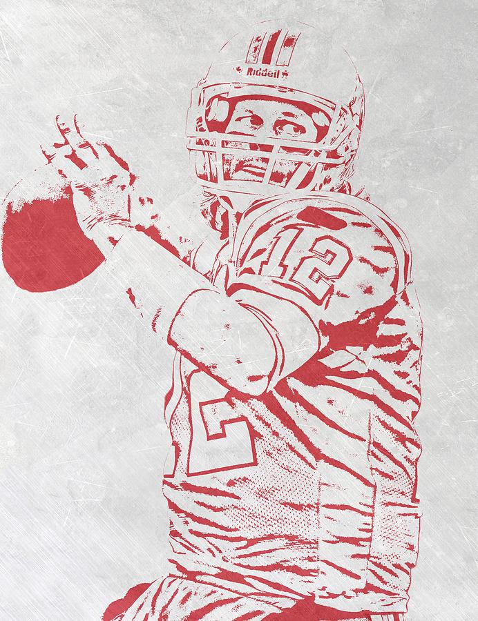 Tom Brady Mixed Media - Tom Brady New England Patriots Pixel Art 4 by Joe Hamilton