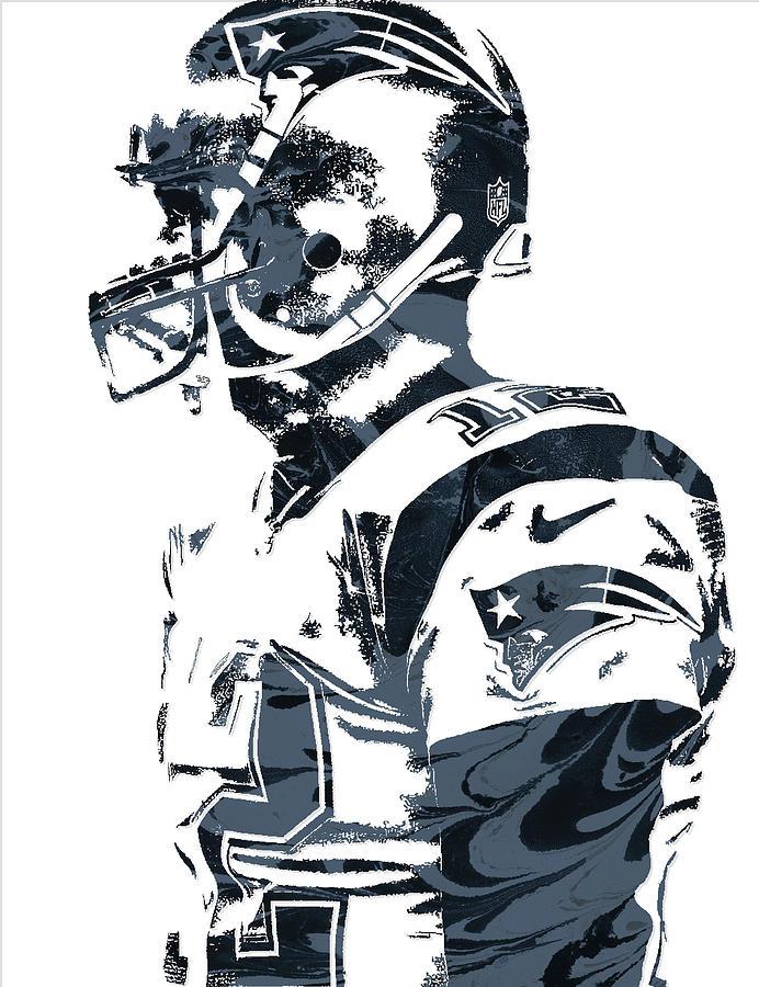 Tom Brady Mixed Media - Tom Brady New England Patriots Pixel Art 8 by Joe Hamilton