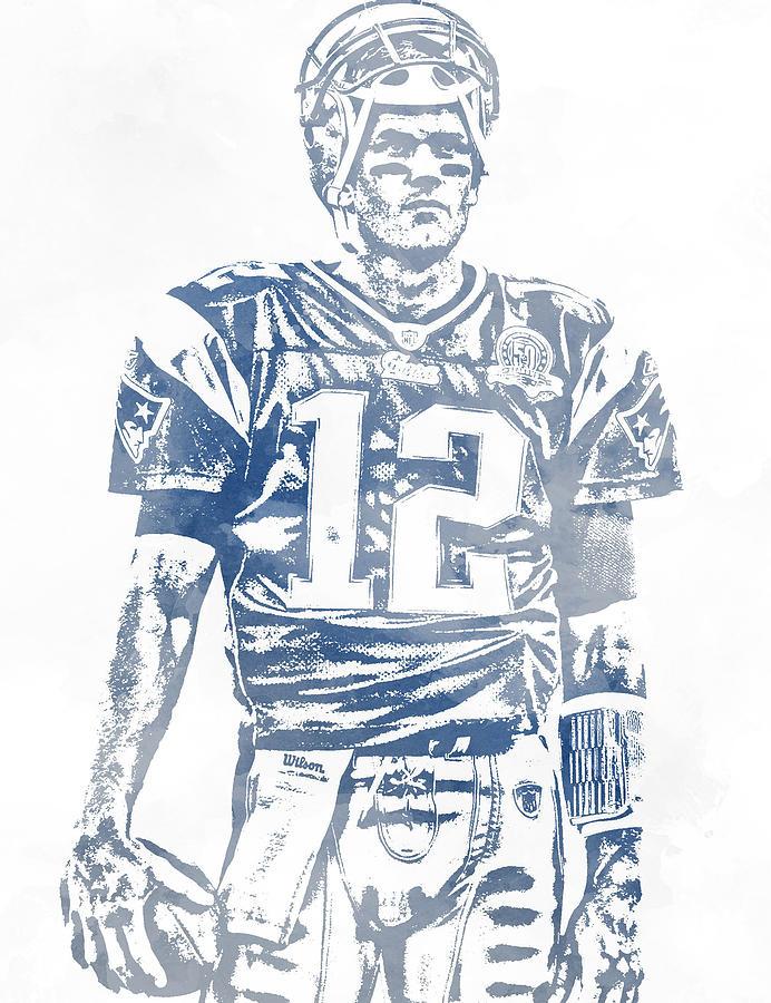 Tom Brady New England Patriots Water Color Pixel Art 7